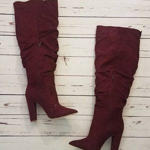 NWOT JustFab Burgundy Knee High Heeled Boots
